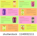 preserved food set of posters... | Shutterstock .eps vector #1140032111