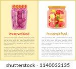 preserved fruit and vegetables...   Shutterstock .eps vector #1140032135