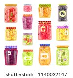 preserved vegetables and fruits ... | Shutterstock .eps vector #1140032147