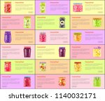 preserved berries  fruits and... | Shutterstock .eps vector #1140032171