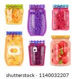 preserved food in jars ... | Shutterstock .eps vector #1140032207