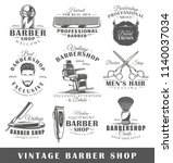 set of vintage barbershop... | Shutterstock .eps vector #1140037034
