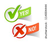 yes and no check marks. vector. | Shutterstock .eps vector #114004444