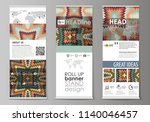 roll up banner stands  abstract ...   Shutterstock .eps vector #1140046457