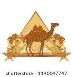camel in egypt desert   banner | Shutterstock .eps vector #1140047747