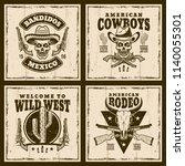 wild west set of four vector... | Shutterstock .eps vector #1140055301