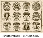 western and wild west set of... | Shutterstock .eps vector #1140055307