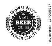 beer cap emblem  label  badge... | Shutterstock .eps vector #1140055337