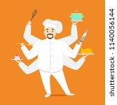 cartoon character multitasking... | Shutterstock .eps vector #1140056144