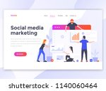 landing page template of social ... | Shutterstock .eps vector #1140060464