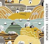 hand drawn seamless pattern... | Shutterstock .eps vector #1140062369