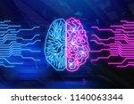 creative digital brain... | Shutterstock . vector #1140063344