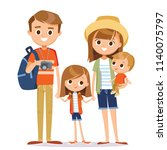 happy family on vacation.... | Shutterstock .eps vector #1140075797