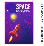 outline outer space rocket...   Shutterstock .eps vector #1140084854