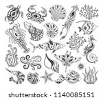 vector silhouettes of marine... | Shutterstock .eps vector #1140085151