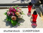 stone grave and memorial with...   Shutterstock . vector #1140091064