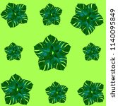 green palm leaves pattern for... | Shutterstock . vector #1140095849