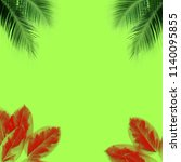 green palm leaves pattern for... | Shutterstock . vector #1140095855