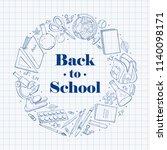 hand drawn school objects in... | Shutterstock .eps vector #1140098171