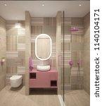 3d rendering of a bathroom... | Shutterstock . vector #1140104171