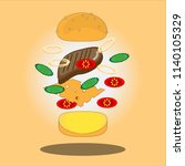 flat style hamburger vector    Shutterstock .eps vector #1140105329