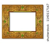 frame gold color with emeralds... | Shutterstock .eps vector #1140117167