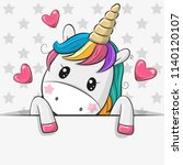 cute cartoon unicorn is holding ... | Shutterstock .eps vector #1140120107