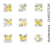 set of 9 flat line business... | Shutterstock .eps vector #1140127124