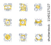 set of 9 flat line business... | Shutterstock .eps vector #1140127127