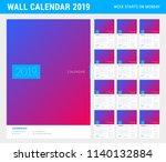 wall calendar planner template... | Shutterstock .eps vector #1140132884