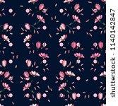 retro wild seamless flower... | Shutterstock .eps vector #1140142847