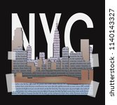 new york t shirt fashion print... | Shutterstock .eps vector #1140143327