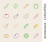 vector vegetable colorful icon... | Shutterstock .eps vector #1140149561