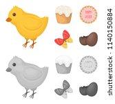 easter cake  chicken  butterfly ...   Shutterstock . vector #1140150884