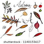 autumn leaves set. hand drawn... | Shutterstock .eps vector #1140153617