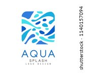 aqua splash logo design ... | Shutterstock .eps vector #1140157094
