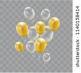 set gold balloons isolated.... | Shutterstock .eps vector #1140158414