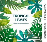 trendy summer tropical leaves... | Shutterstock .eps vector #1140160697