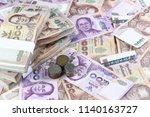 thailand currency and coins... | Shutterstock . vector #1140163727