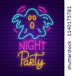 happy halloween party neon sign.... | Shutterstock .eps vector #1140175781