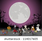 halloween background with full... | Shutterstock .eps vector #114017605