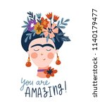 frida khalo. cute and funny... | Shutterstock .eps vector #1140179477