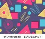 memphis seamless pattern....   Shutterstock .eps vector #1140182414