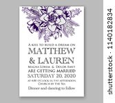wedding invitation blue... | Shutterstock .eps vector #1140182834