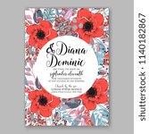floral wedding invitation... | Shutterstock .eps vector #1140182867