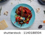 ragout with meat and vegetables ... | Shutterstock . vector #1140188504