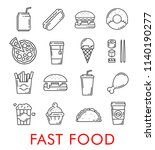 fast food thin line icons of... | Shutterstock .eps vector #1140190277