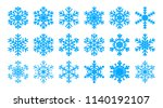 set of light blue snowflakes on ... | Shutterstock .eps vector #1140192107