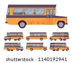 yellow retro bus. single decker ... | Shutterstock .eps vector #1140192941