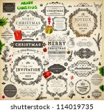 christmas decoration collection ... | Shutterstock .eps vector #114019735